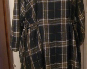 ON SALE/ Black Plaid Linen Tunic Dress
