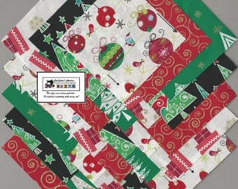 "25~5"" Christmas Ornaments_Trees Fabric Squares/Quilt/Craft/Sewing/Charm Packs #5880"
