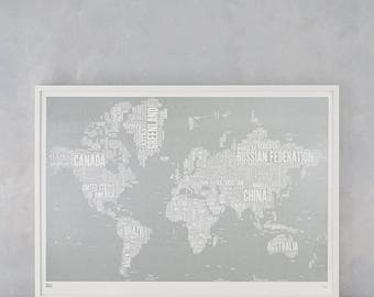 World Type Map Screen Print, World Type Map, World Word Map, World Wall Art, World Wall Poster, World Map, Gold World Map