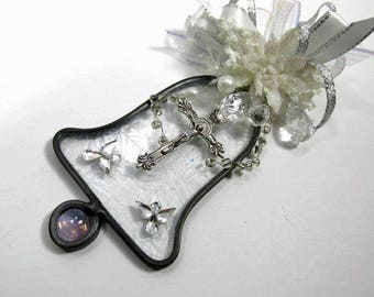 White and Silver Cross and Angel  Frosted Stained Glass Bell Suncatcher or Ornament