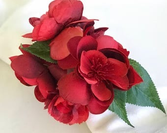 Napkin Rings - Ruby Red Spring Blossom - Wedding Decoration - Wedding Showers - Easter