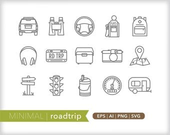 Minimal roadtrip line icons | EPS AI PNG | Geometric Vacation Clipart Design Elements Digital Download