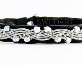 """Reserved Eva SwedArt B111 Icy River Reindeer Leather Bracelet-Handmade Faceted Solid Silver Cubes-Pewter Braid and Button-Black 3/8"""" SMALL"""