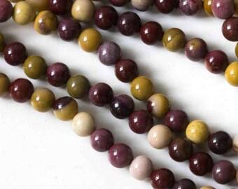 "One 16"" Strand of 6.5mm Mookaite Round Beads"