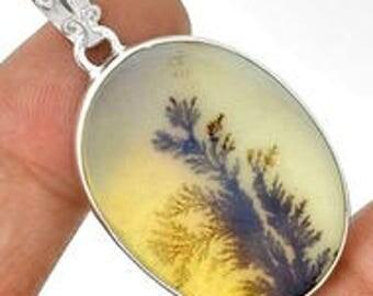 Dendrite Agate Oval Sterling Silver Frame Pendant