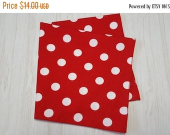 ON SALE July 4th Cloth Napkins White Dots on Red Set of 4