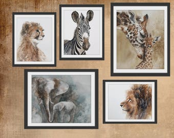 watercolor painting nursery art print animal print baby animal nursery art nursery PRINT SET girl boy giraffe lion elephant cheetah zebra
