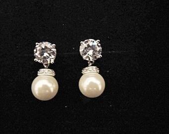 Pearl wedding earrings bridal vintage inspired Art Deco 1920/30s style pearl crystal drop wedding bridal earrings silver wedding jewelry