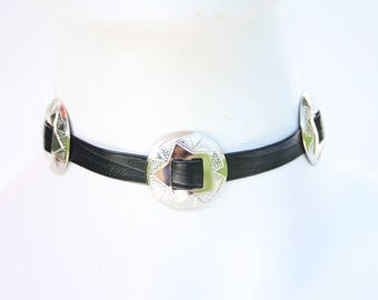 OOAK Thin Black Faux Leather 90's Style Silver Tone Concho Lightweight Adjustable Choker Necklace