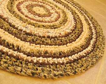 """Small roumd rag Rug, door mat, pet mat, crochet, brown, chocolate, spice, earth tones, cottage, country, folk, eco, 26"""", 66cm."""