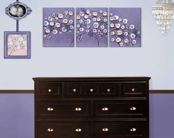 Baby Girl Wall Art for Pink and Purple Nursery, Large Triptych Canvas, Flower Art, Mixed Media Painting - 50X20