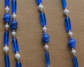 """On sale Vintage Vibrant Blue, White Plastic Long Necklace, 52"""""""