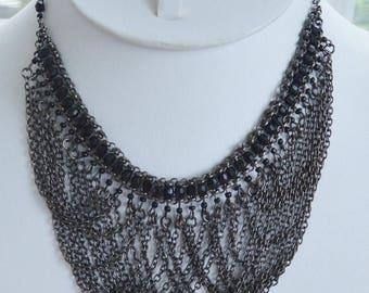 "ON SALE Pretty Vintage Gray, Black Bib Necklace, Adjustable, 14""-18"" (AO8)"