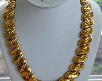 ON SALE Bold Chunky Gold tone Chain Link Necklace, Vintage, 21""