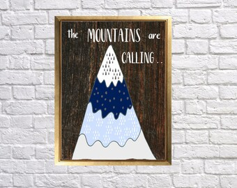 Adventure Nursery Art, Mountain Wall Paper Prints, The mountains are calling, Woodland Wall Decor, Custom Paper Prints, Lilys Nursery Shop