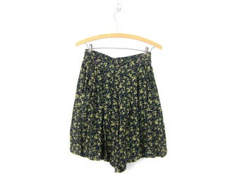 Blue & Green Culottes shorts Wide Leg Rayon Skorts Long Floral Print Pattern Shorts High Elastic Waist Skirt Shorts Women's Size small