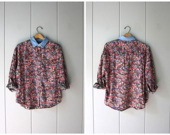 90s Floral Blouse Button Up Blue Pink Floral Blouse Long Sleeve Boho Top Preppy Denim Collar Shirt Fall Jean Shirt Womens Medium Large
