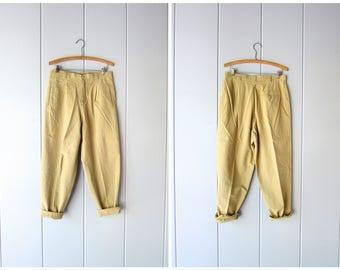"80s Cotton Khaki Pants Vintage High Waist Pants Minimal Pleated Womens Trousers Tapered Pants Modern Basic Pant Womens 14 Petite / 31"" waist"