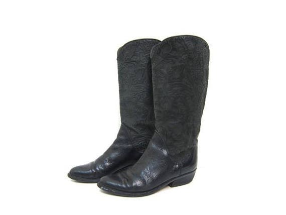 Vintage Black Leather Boots 90s Tall Black Boots Floral TOOLED Leather BANDOLINO Italian Cowgirl Equestrian Riding Boots 6