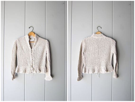 Vintage Linen Sweater Top Cropped Irish Linen Knit Cardigan Small Fit Woven Crop Top Minimal Preppy Prairie Cardi Womens Petite Small XS