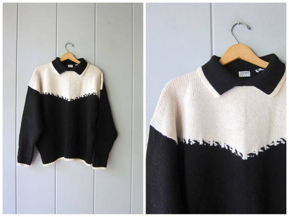 80s ESPRIT Sweater Vintage Black White WOOL Sweater Chunky Knit Modern Collared Sweater Mod Minimal Tuxedo Pullover Womens Large XL