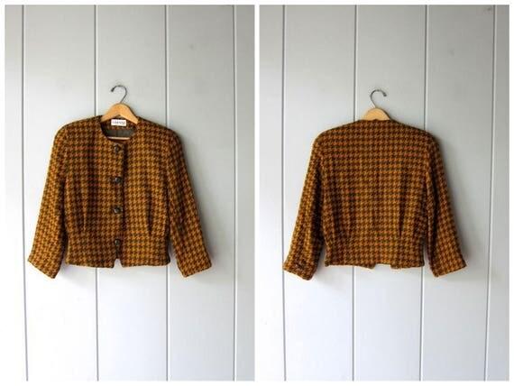 Vintage Wool Blazer Green Orange Cropped Jacket Checkered Fall Coat Crop Wool Jacket Blazer Button Up Modern Preppy Coat Womens Small Medium