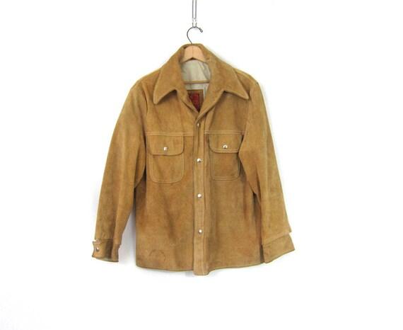 Menswear Vintage 1970s Light Brown Suede Leather coat Hipster Coat Rockabilly Cowboy Snap Jacket Made in Argentina Men's size 42