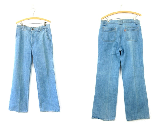 Orange Tab LEVIS Faded Blue Jeans Hipster Light Wash Denim Wide Straight Leg Mom Jeans Hippie Vintage 1980s Bohemian Waist 34  x 31 Inch