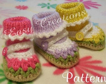 CROCHET and KNIT PATTERN Baby Mary Jane Shoes Booties Girl Girls Babies Tulip Flowers Attached Socks 0 to 9 mo, skill level intermediate