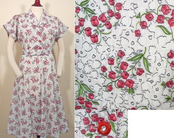 1950s Vintage White and Red Floral Summer Dress SZ XL