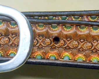 Chocolate Brown Border Leather Belt with Original Hand Stamped Design with a Touch of Color  OOAK