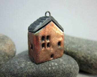 Raku House Pendant...Copper