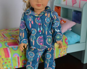 18 inch Doll Clothes - Dreamcatcher Pajamas - Flannel PJs - TEAL PINK GREEN - fits American Girl
