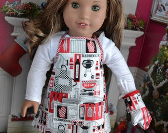18 inch Doll Clothes -  Grill Cook Apron and Pot Holder - RED BLACK WHITE - Stocking Stuffer - for boy or girl doll -  fits American Girl