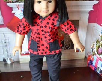 18 inch Doll Clothes - Doctor Nurse Veterinarian Outfit - Scrubs - RED BLACK - Stars - fits American Girl