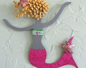 Metal mermaid wall art decor - Rosie - beach house coastal ocean theme pink blonde  bathroom kids