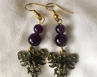 RICHARME Mexican Figure Earrings with Amethyst Agate Beads