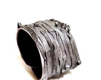 40% OFF SALE Unique multi strand leather bracelet  Cuff  Statement Leather jewelry Fashion wristband