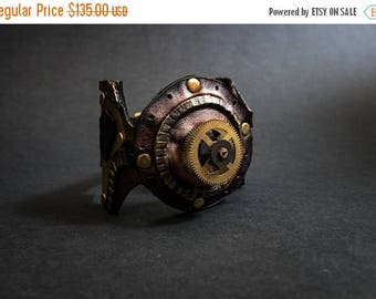 40% OFF SALE Leather steampunk cuff bracelet