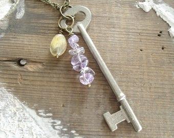 Skeleton Key Necklace. Gemstone Necklace. Antique Key Necklace. Amethyst, Aquamarine Stone Necklace. Artisan Gemstone Jewelry. Boho Gift.
