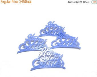 Mid Year Sale Vintage Easter Cake Toppers, Blue Happy Easter, Blue Topper, Spring Cake Topper, Vintage Topper, Set of 4