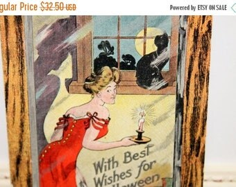 Mid Year Sale Vintage Halloween Postcard, Vintage Postcard, Lady in Red, Carrying Candlestick on Stairs, Black Cat, Full Moon, by The Rose C