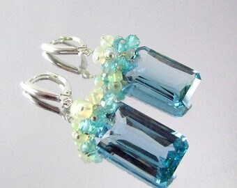 15% Off Blue Green Amethyst With Ethiopian Opal and Apatite Sterling Silver Lux Earrings