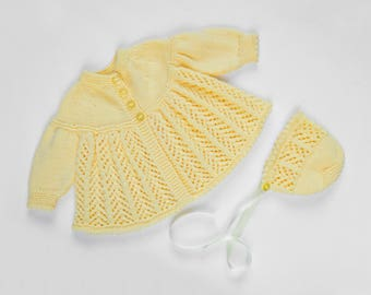 Traditional Style Baby Matinee Coat & Hat Set - Daisy Yellow - Hand Knit Baby Cardigan.