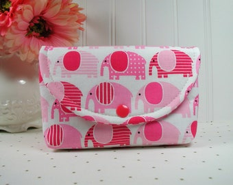 Snap Pouch, Large Snap Pouch, Cosmetic Pouch, Accessory Pouch... Urban Zoologie Pink Elephants