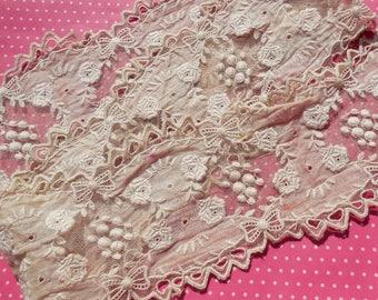 Antique Lace Vintage Lace Cotton Mixed Lace Flounce Roses Bows