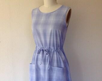Judith Cotton sun dress- blue plaid- Small