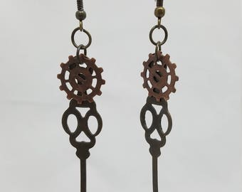 Clockworks Copper & Brass with Emerald Green Rhinestone