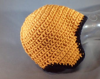 Baby Hat in Gold and Black in Newborn to 6 Month Size, free shipping