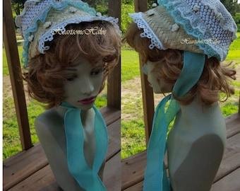 Regency costume hat bonnet straw mint green white roses small OOAK stage child adult Austen